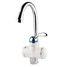 Кран-водонагрівач проточний LZ 3.0 кВт 0,4-5бар для кухні гусак вухо на гайці AQUATICA (LZ-6B111W)