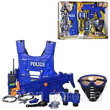 Великий набір поліції. Бронежилет, автомат, маска, годинник, рація, жетон, ніж, наручники, свисток 33530