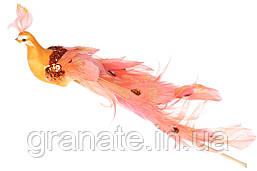 Декоративная птица Павлин 22см, цвет - оранжевый(12 шт)