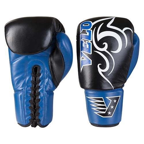 Боксерские перчатки кожаные на шнуровке черно-синие 12oz Velo