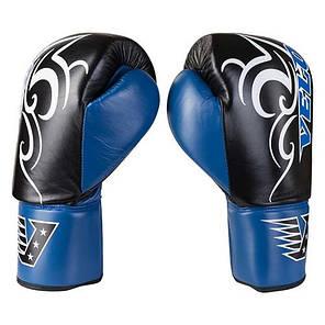Боксерские перчатки кожаные на шнуровке черно-синие 12oz Velo, фото 2