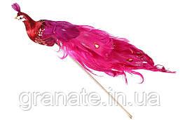 Декоративная птица Павлин 22см, цвет - красный (12 шт)