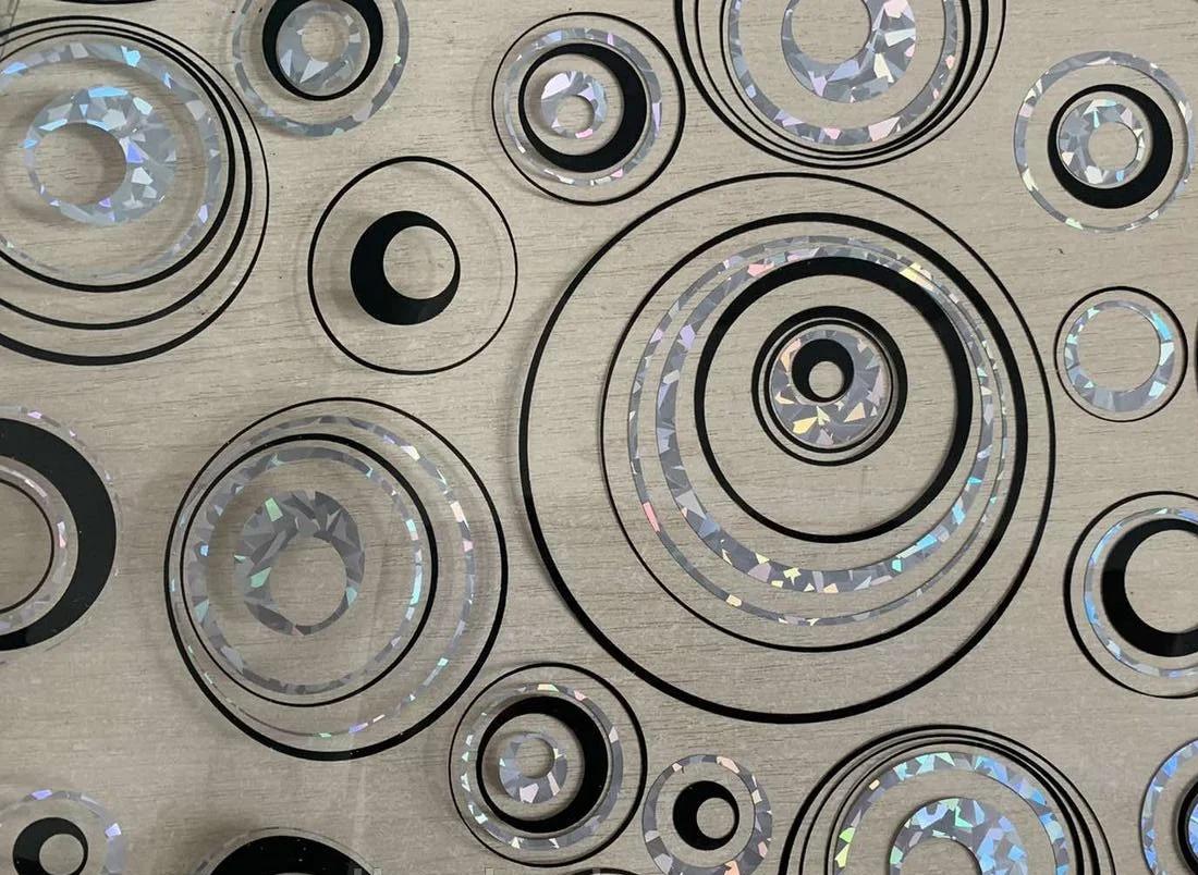 Мягкое стекло Силиконовая скатерть с рисунком на стол Soft Glass (Толщина 1.5мм) Серебристо-черные круги