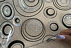 Мягкое стекло Силиконовая скатерть с рисунком на стол Soft Glass (Толщина 1.5мм) Серебристо-черные круги, фото 5
