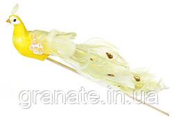 Декоративная птица Павлин 22см, цвет - жёлтый(12 шт)