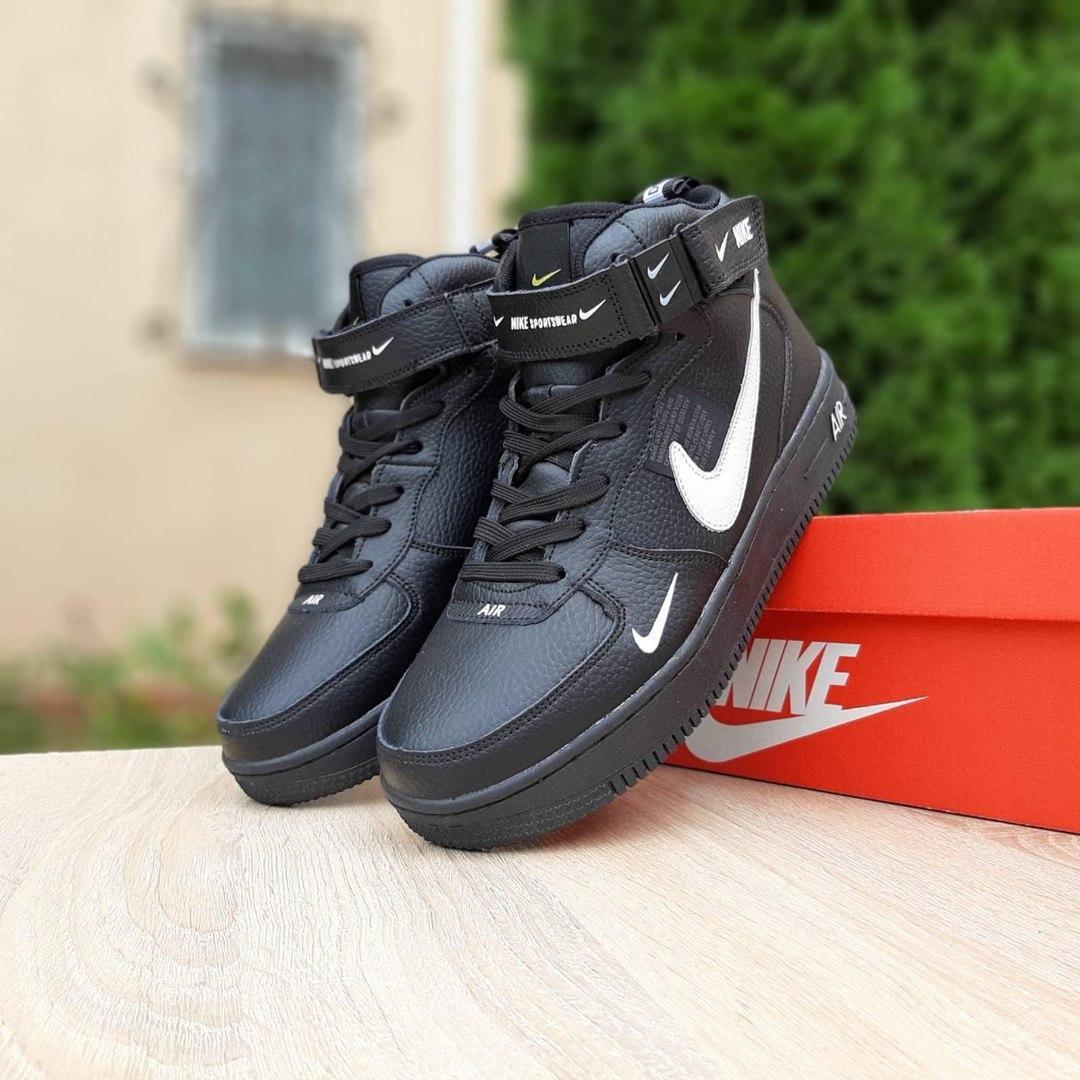 Зимние высокие подростковые кроссовки Nike Air Force чёрные с белым