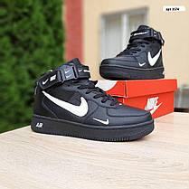 Зимние высокие подростковые кроссовки Nike Air Force чёрные с белым, фото 2
