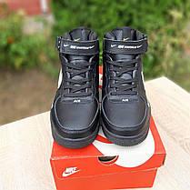 Зимние высокие подростковые кроссовки Nike Air Force чёрные с белым, фото 3