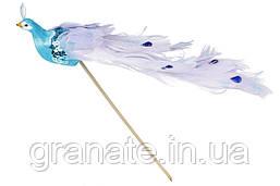Декоративная птица Павлин 22см, цвет - синий(12 шт)