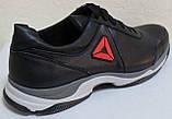 Мужские кожаные черные кроссовки на шнурках от производителя модель ЛМ05, фото 5