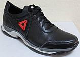 Мужские кожаные черные кроссовки на шнурках от производителя модель ЛМ05, фото 2