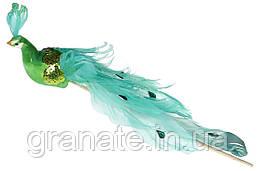 Декоративная птица Павлин 22см, цвет - зеленый (12 шт)