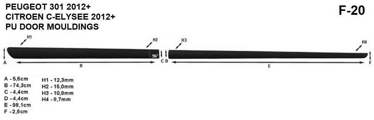 Молдинги на двері для Peugeot 301 2012>, фото 6