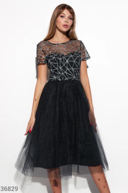 Чорне плаття з блискучим напиленням S M L