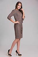 Вязаное платье на натуральной трикотажной подкладке, капучино