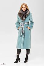 Женская шуба - пальто из искусственного кролика с воротником из натуральной чернобурки ПВ-192 Бирюза