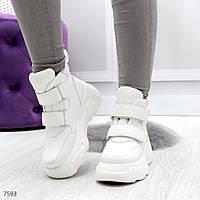 Трендовые белые полу спортивные женские зимние ботинки на липучках, фото 1