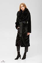 Женская шуба - пальто из искусственного кролика с воротником из натуральной чернобурки ПВ-192 Черный