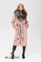 Женская шуба - пальто из искусственного кролика с воротником из натуральной чернобурки ПВ-192 Розовый