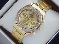 Женские кварцевые наручные часы Rolex на металлическом ремешке со стразами и с датой