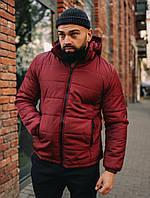Куртка зимняя мужская Asos с капюшоном, куртка короткая, цвет бордо, фото 1