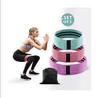 Резинки тканевые для фитнеса и спорта(3 шт. в комплекте)| Лента эспандер для фитнесса для ног