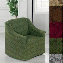 Чехол на кресло универсальный натяжной без юбки жаккардовый  без оборки Зеленый Турция