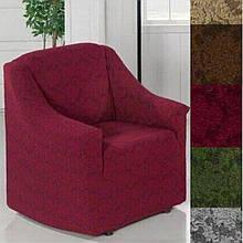 Чехол на кресло универсальный натяжной без юбки жаккардовый  без оборки Бордовый Турция