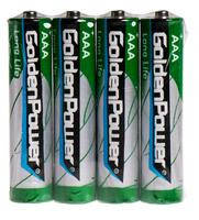 Батарейка GOLDEN POWER Long Life AAА Спайка*4 Zinc-Carbon