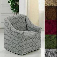 Чехол на кресло универсальный натяжной без юбки жаккардовый  без оборки Серый Турция