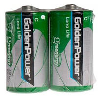 Батарейка GOLDEN POWER Long Life C Спайка*2 Zinc-Carbon