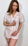 Пижама-костюм женская в розовую полоску