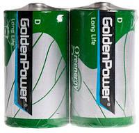 Батарейка GOLDEN POWER Long Life D Спайка*2 Zinc-Carbon