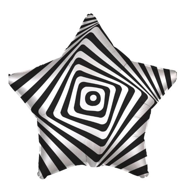 """Шар фольгированный звезда черно-белая Иллюзия, 19"""" (Agura)"""