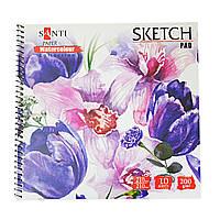 """Альбом для акварели SANTI """"Floristics"""", 210*210 мм, """"Paper Watercolour Collection"""", 10 л."""