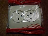 Розетка двойная без заземления кремовая (кремовые вставки) EL-BI, ZIRVE