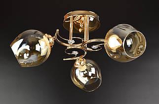Люстра стельова на 3 лампочки (23х46х46 див.) Хром або золото YR-2299/3B-gd