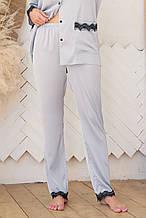 Женские пижамные штаны серо-голубого цвета с кружевом Долорес