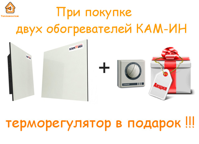 Акция на панели кам-ин. При покупке 2-х любых панелей терморегулятор в подарок!