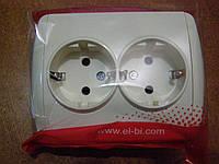 Розетка двойная с заземлением кремовая (без вставки) EL-BI, ZIRVE