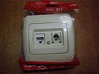 Розетка комби компьютерная + телефон EL-BI, ZIRVE кремовая