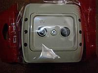 Розетка ТВ + спутник концевая EL-BI, ZIRVE кремовая
