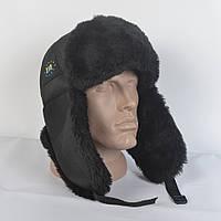 Мужская Патриотическая шапка ушанка из плащевки - Искусвенный мех Мутона (код 29-234)