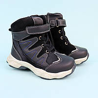 Кожанные черные зимние ботинки для мальчика тм BiKi размер 26,28,29, фото 1