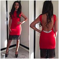 Платье вечернее соткрытой спиной, ткань дайвинг +кружева, цвет красный .синий и бежевый АА № 583-8