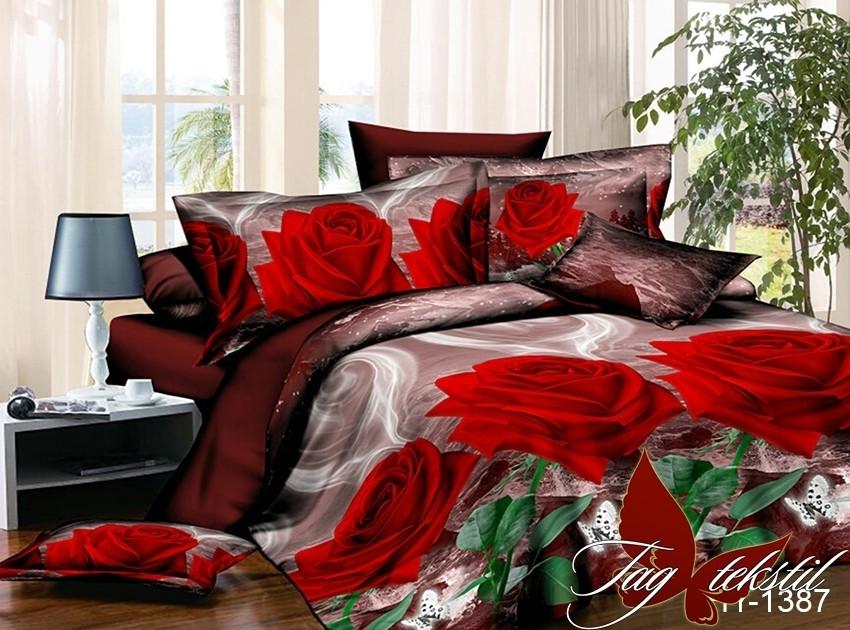 Євро комплект постільної білизни з трояндами, Полікотон