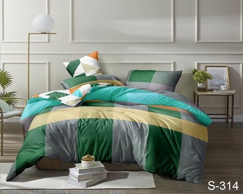 Евро комплект постельного белья в разноцветную клетку, Сатин-люкс
