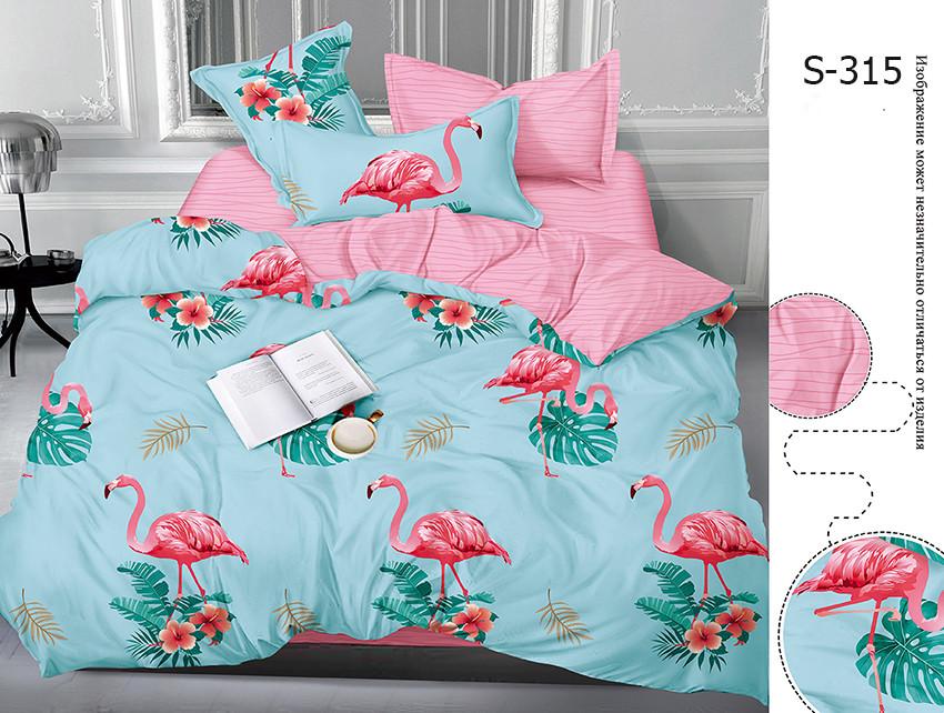 Евро комплект постельного белья голубого цвета с фламинго, Сатин-люкс