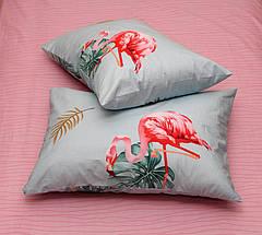 Евро комплект постельного белья голубого цвета с фламинго, Сатин-люкс, фото 3