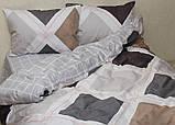 Евро комплект постельного белья в клеточку, Сатин-люкс, фото 2